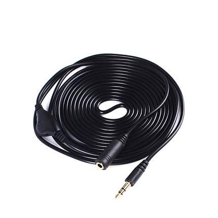 Аудио кабель удлинитель с регулятором громкости 3 метра 3.5мм джек, папа-мама черный, фото 2
