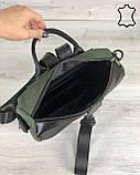 Кожаная  сумка рюкзак «Angelo» черный с оливковым, фото 5