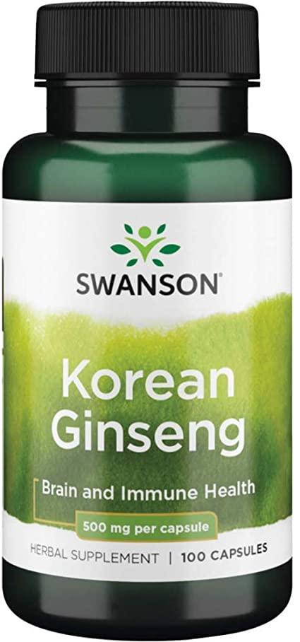 Swanson Korean Ginseng 500 mg, Корейський женьшень (100 капс.)