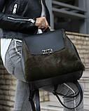 Женский рюкзак «Фаби»  с оливковым мехом, фото 3