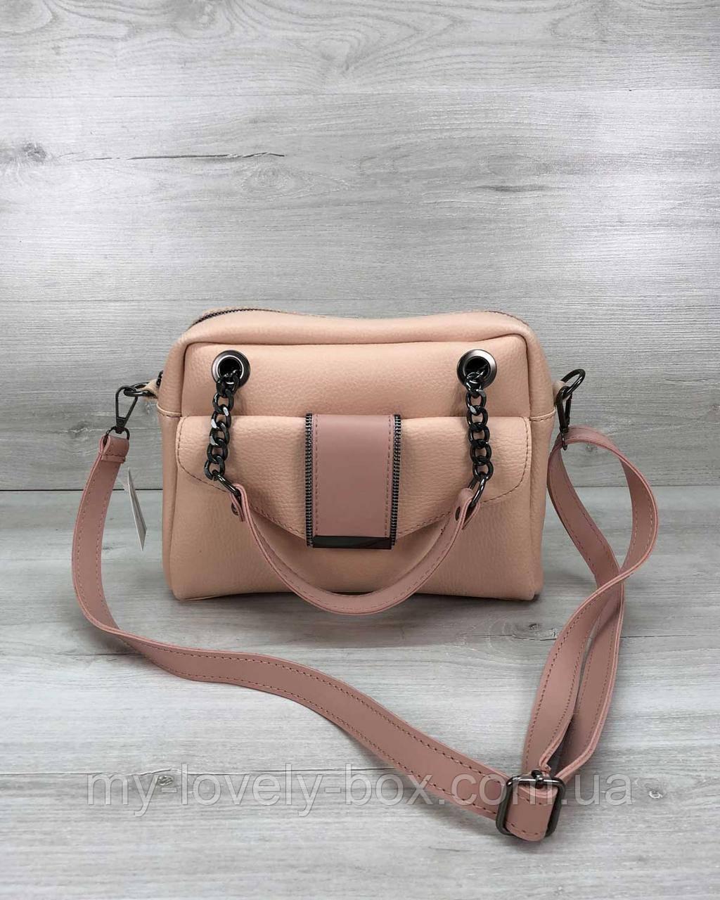 Стильна жіноча сумка Хлоя кольору пудри