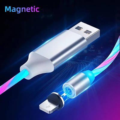 Магнитный кабель зарядка светящийся для IPhone 2 метра