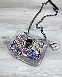 Cумка «Селена» силиконовая с косметичкой белая абстракция, фото 3