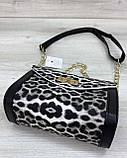 Женская сумка «Бэсс» черно-белый леопард, фото 3