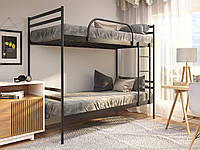 Двухъярусная металлическая кровать Comfort Duo (Комфорт Дуо) Метакам 80х200, Двухъярусная, Черный