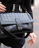 Жіноча сумка «Наомі» чорний крокодил, фото 2
