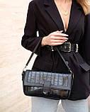 Жіноча сумка «Наомі» чорний крокодил, фото 5
