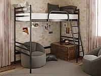 Двухъярусная металлическая кровать Fly Duo Cherdak (Флай Дуо Чердак) Метакам 90х200, Двухъярусная черная