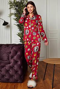 Женская брючная пижама с блузкой с принтом (Моне jd)