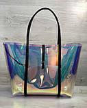 Пляжна сумка «2 в 1» перламутрова силіконова з чорним, фото 2