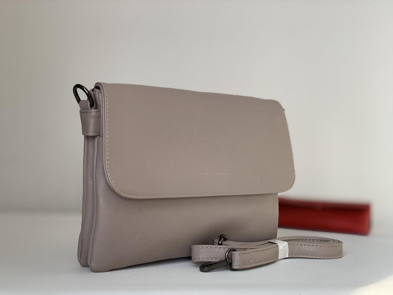 Женская сумка клатч небольшой цвета кофе с молоком Pretty Woman через плечо