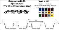 Профнастил Н-75 оцинкованный 0,5мм несущий