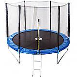 Батут діаметром 465 см з зовнішньої сіткою і сходами з навантаженням до 180 кг висотою 270 см синій, фото 2
