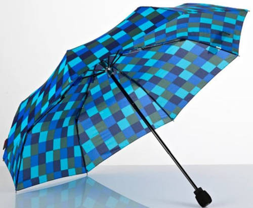 Мужской оригинальный механический складной зонт в клетку EuroSCHIRM Light Trek 3029-CWS1/SU18258 синий