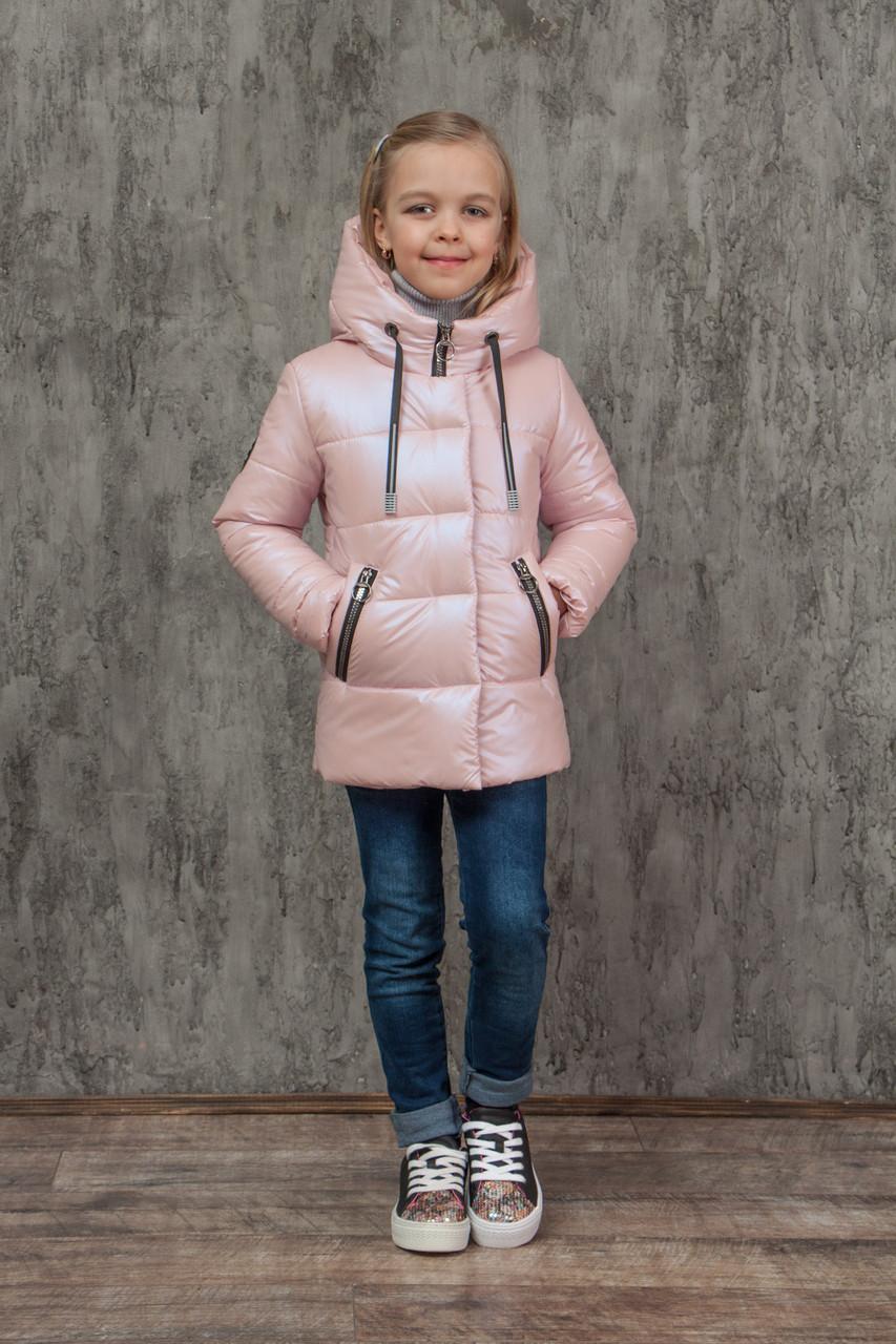 Демисезонная куртка на девочку блестящая перламутровая на весну и осень, модель Мирабель, 128-152