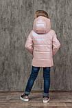 Демисезонная куртка на девочку блестящая перламутровая на весну и осень, модель Мирабель, 128-152, фото 2