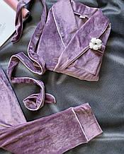 Комплект женский для сна V.Velika велюровый - халат + штаны лиловый XS