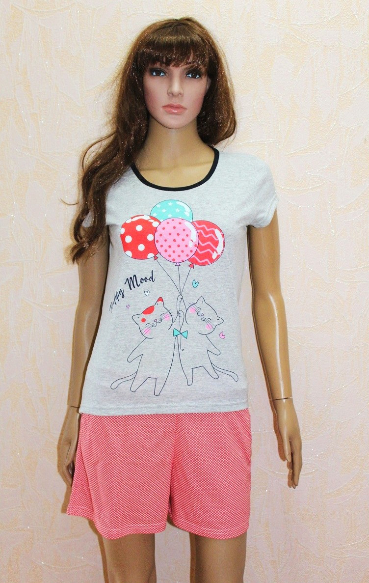 Летняя пижама женская серая футболка с шортами трикотажная р.44-54