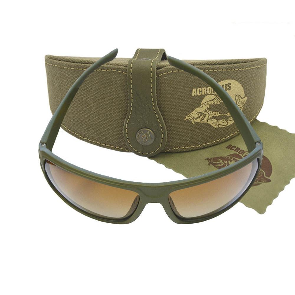 Чоловічі сонцезахисні окуляри для риболовлі в джинсовому футлярі обробленому натуральною шкірою на латунній кнопці