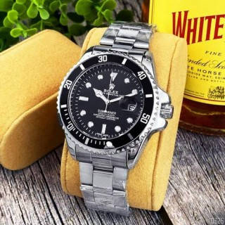 Часы кварцевые наручные металлические женские Rolex Submariner 2128 Quarts Silver-Black