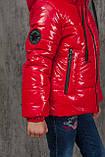 Демисезонная куртка на девочку блестящая лаковая на весну и осень, модель Альбина, 134-152, фото 3