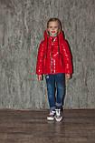 Демисезонная куртка на девочку блестящая лаковая на весну и осень, модель Альбина, 134-152, фото 5