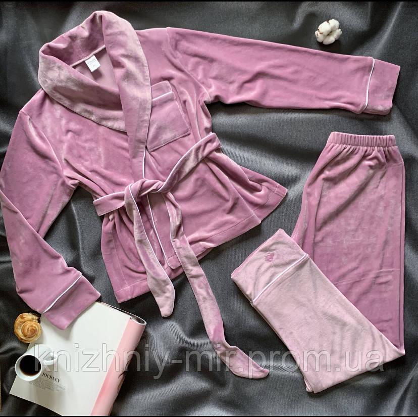 Комплект женский для сна V.Velika велюровый -  халат + штаны розовый XS