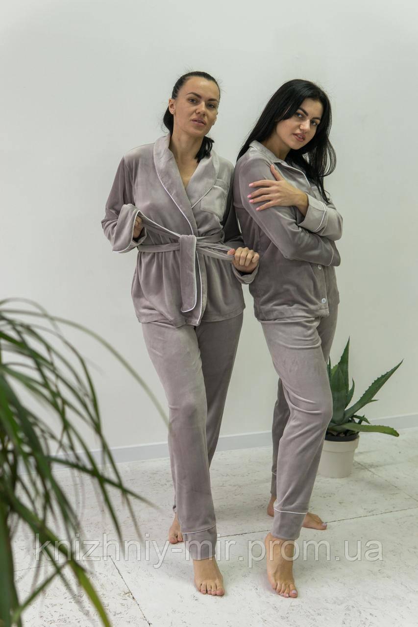 Комплект женский для сна V.Velika велюровый -  халат + штаны светло-серый XS