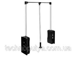 Ліфт гардеробний пантограф Mobius 830-1150 навантаження 8 кг з діодною підсвіткою Хром/Чорний