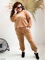 Велюровый спортивный костюм женский свитшот и штаны больших размеров 50-60 арт. 333