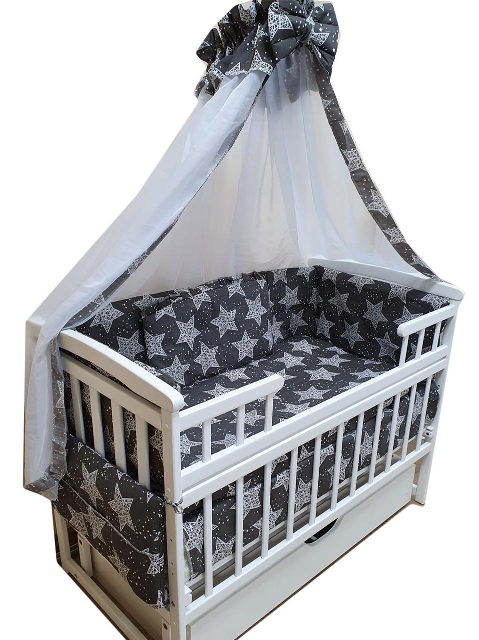 """Акция! Набор постельного в детскую кроватку 8 элементов """"Белые звезды на темно сером"""""""