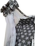 """Акция! Набор постельного в детскую кроватку 8 элементов """"Белые звезды на темно сером"""", фото 2"""