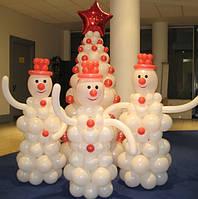 Елка и снеговики  из воздушных шаров на НОВЫЙ ГОД