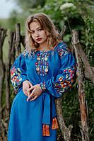 Синее льняное платье-вышиванка, арт. 4519