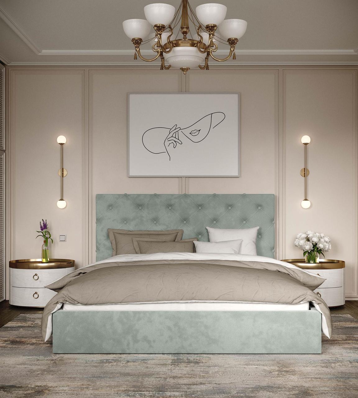 """Кровать с мягким изголовьем  """"Велюр"""" 140*200. ТМ Viorina-deko"""