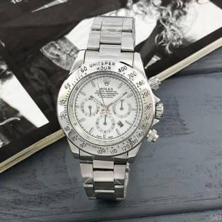 Часы мужские наручные кварцевые металлические классические Rolex Daytona Quartz Date Silver-White