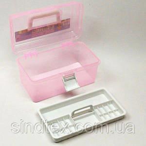 18х9х10см пластиковая тара (чемоданчик, контейнер, органайзер) для рукоделия и шитья (657-Л-0238-2)