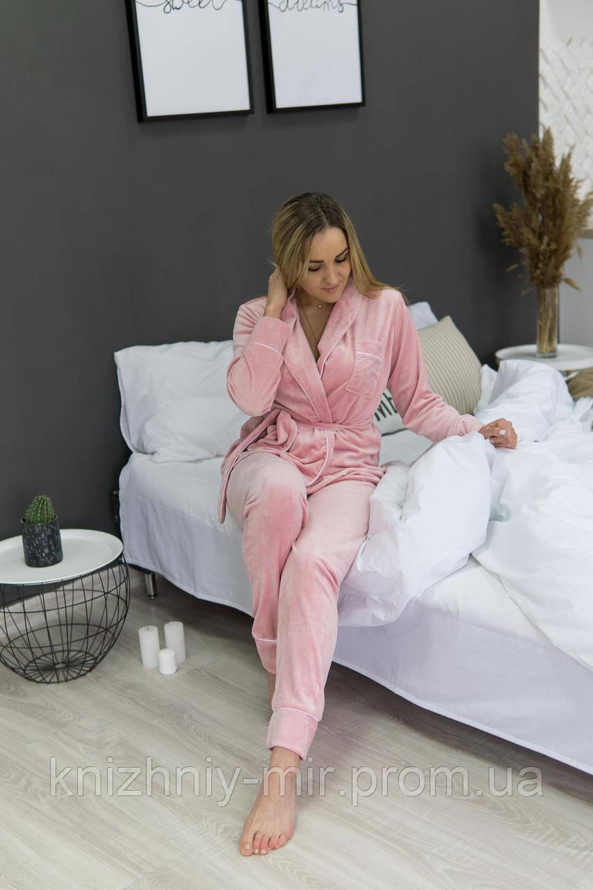 Комплект жіночий для сну V. Velika велюровий - халат + штани світлий персик XS