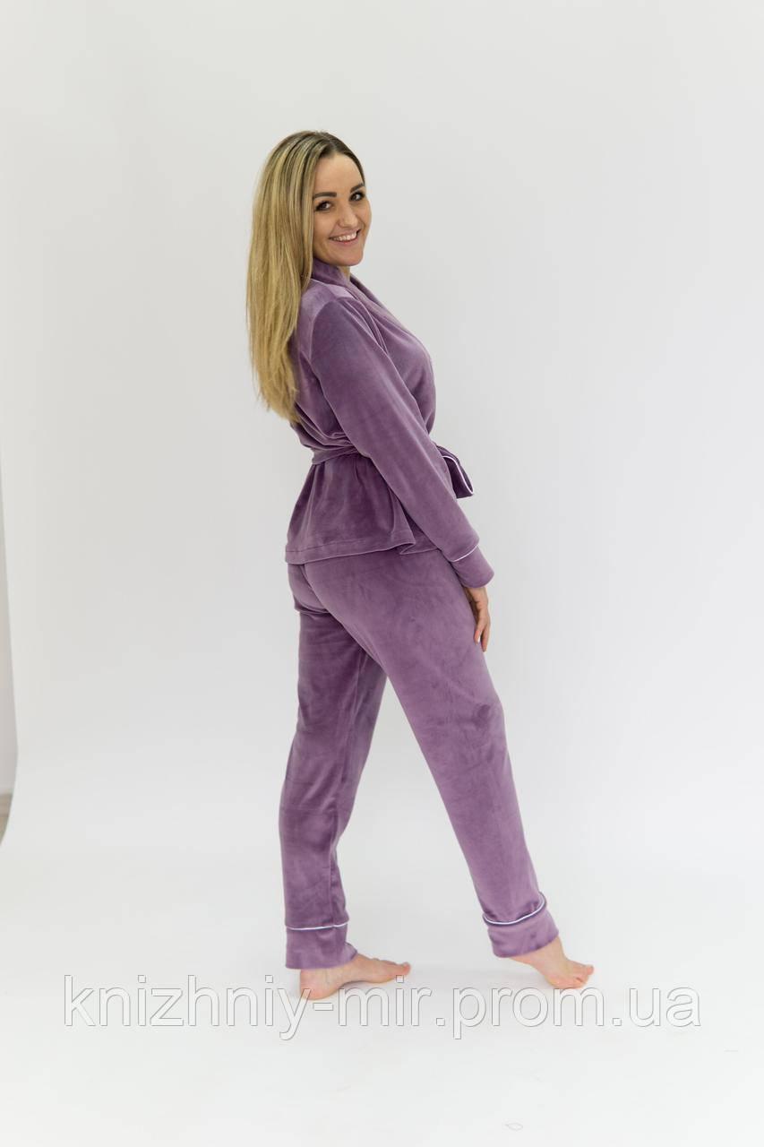 Комплект женский для сна V.Velika велюровый -  халат + штаны сиреневый L