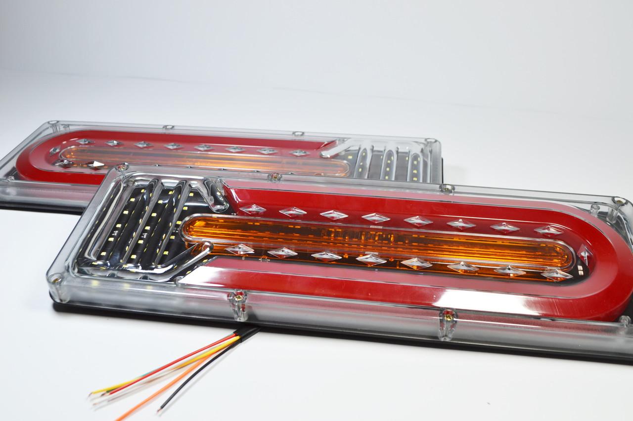 Фонарь LED задний 24V до Автомобильной техники, грузовиков, 41х13см (Бегущий поворотник)  Reap lamp Wagen