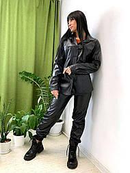 Джоггеры з еко-шкіри 52, чорний