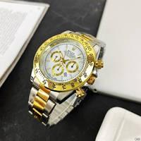Часы мужские наручные кварцевые металлические классические Rolex Daytona Quartz Date Silver-Gold-White