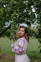 Розовое льняное платье-вышиванка, арт. 4549