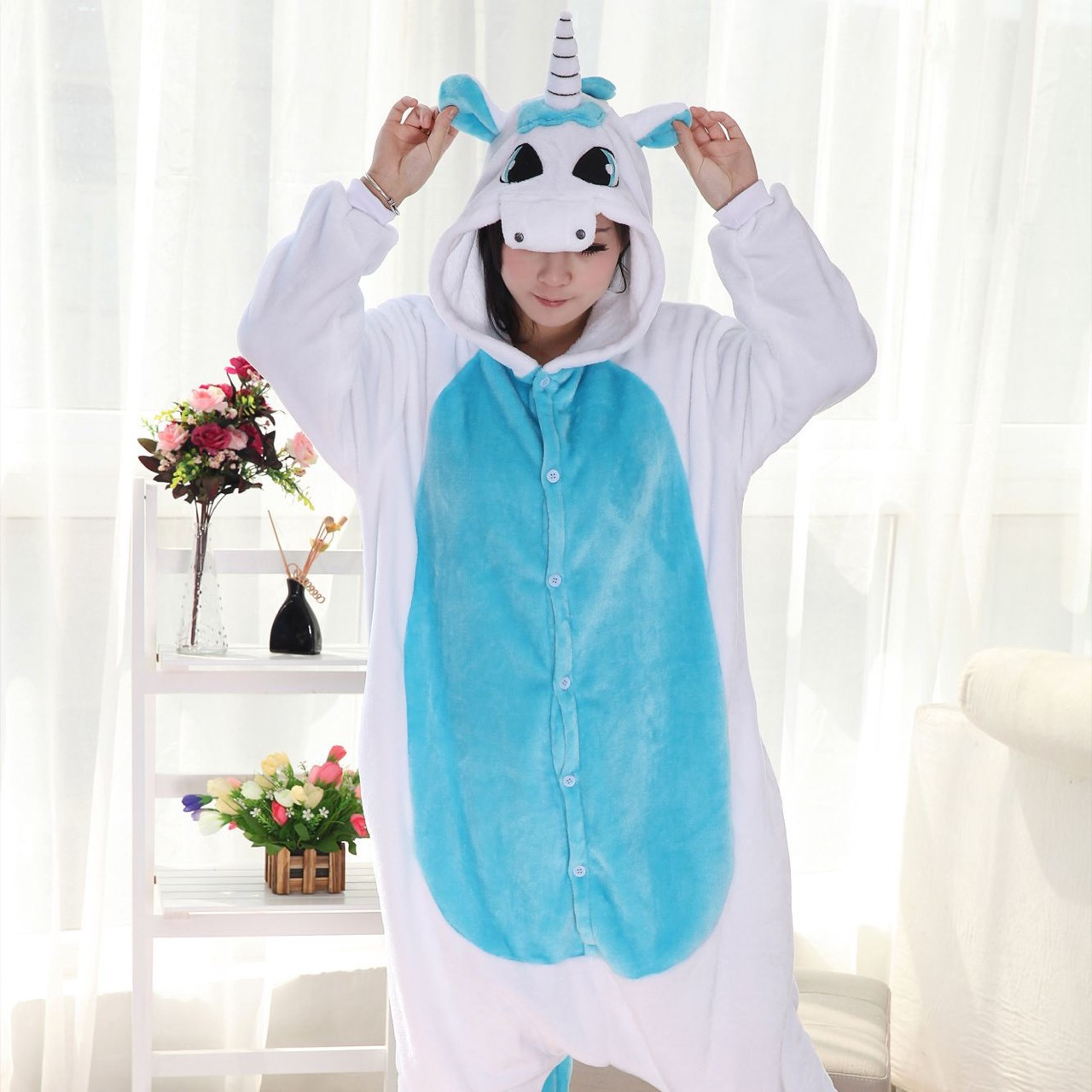 Піжама Кигуруми Біло-блакитний Єдиноріг (розмір М)