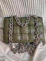 Жіноча сумка Bottega Veneta The Chain Cassette Khaki | Плетений клатч Боттега Венета Хакі, фото 1