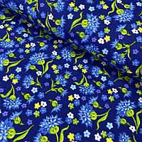 Фланель (байка) с голубыми васильками на синем фоне, ширина 150 см, фото 1