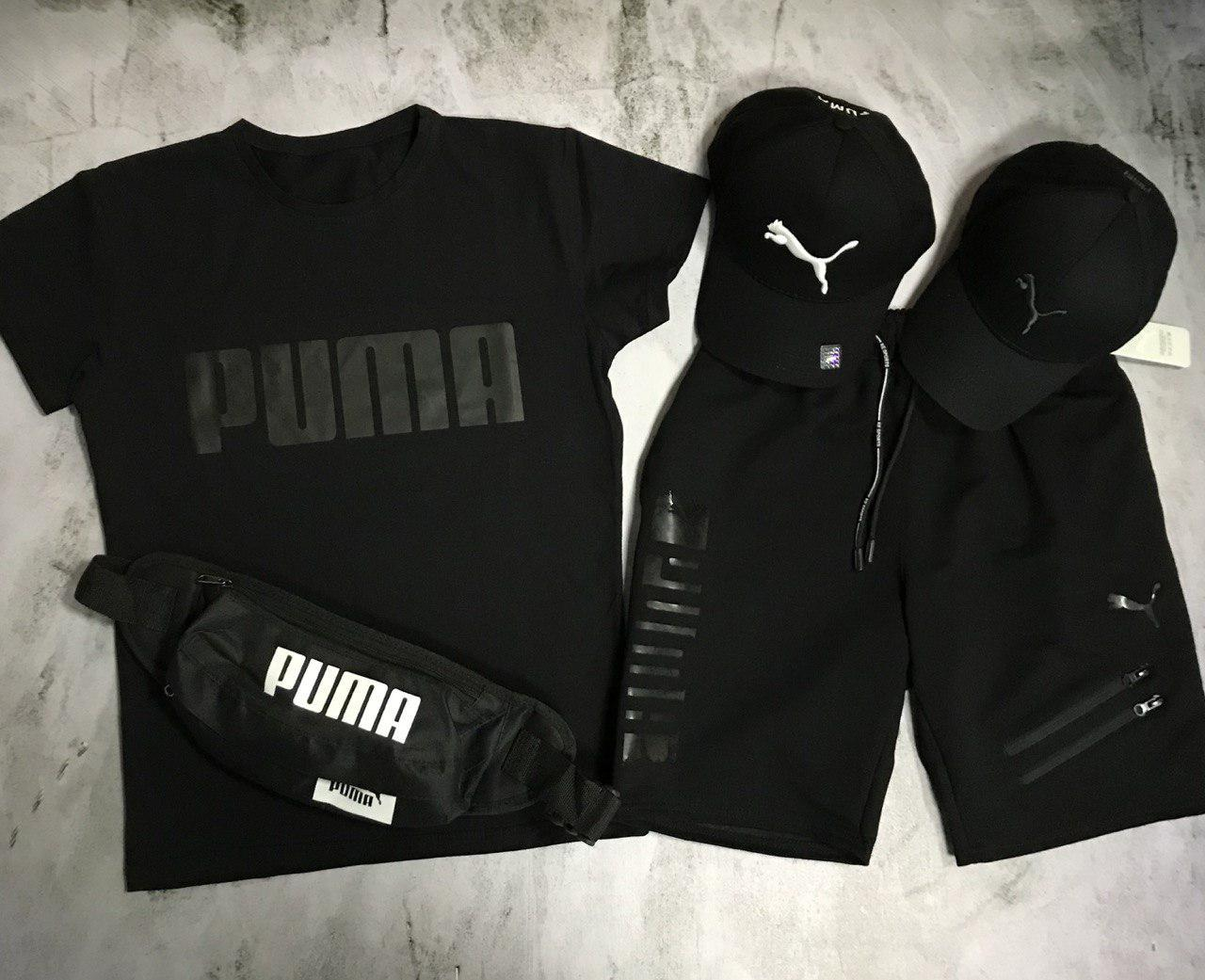 Чоловічий спортивний костюм (футболка і шорти) Puma Total Black