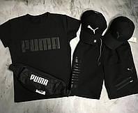 Чоловічий спортивний костюм (футболка і шорти) Puma Total Black, фото 1