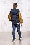 Подростковая куртка с отстегивающимися рукавами трансформер в жилет на мальчика демисезонная, м.Артур, 128-134, фото 2