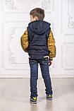 Подростковая куртка с отстегивающимися рукавами трансформер в жилет на мальчика демисезонная, м.Артур, 128-134, фото 3